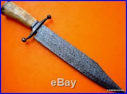 Custom Damascus Steel Hunting Bowie Knife / Dagger / Sword / Camel Bone/ Rare