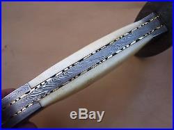 Custom Damascus Steel Hunting Bowie Knife / Sword / Dagger / Camel Bone Handle