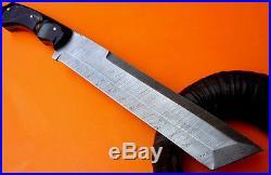 Custom Damascus Steel Hunting Knife, Tanto Survivor Machete, Christmas Gift