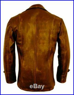 Distressed Brown Coat 3/4 Vintage Genuine Sheepskin Leather Jacket For Men's