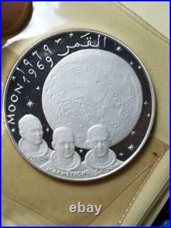 FUJAIRAH 10 Riyals 1969 MOON LANDING AG PROOF BU very rare