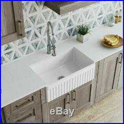 Fireclay Single Bowl 30 Farmhouse Apron Kitchen Sink REVERSIBLE White NEW