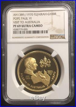 Fujairah 100R 1970 Gold NGC PF69UC Pope Paul Visit Australia Mtg250 POP 2/0 RRR