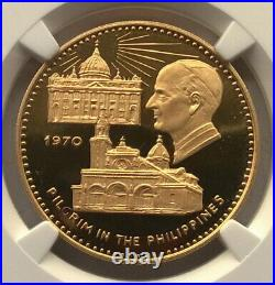 Fujairah 1970 Pope Visit Philippines 100 Riyals NGC PR67 Gold Coin, Rare