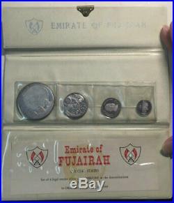 Fujairah 4 Silver coins 1970 Proof set with origin wallet+coa