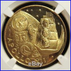 Fujairah AH 1389//1970 Gold 100 Riyals Apollo XII Commem. NGC PF-64 Ultra Cameo