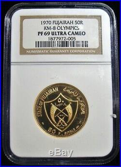 Fujairah Gold Munich Olympics 50 Riyals AH 1389 (1970) PR69 Ultra Cameo NGC