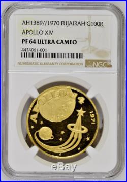 Fujairah UAE 1389/1970 Gold 100 Riyals Apollo XIV Space NGC PF64 Mintage-550