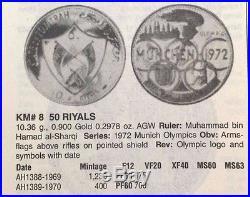 Fujairah UAE 1389 1970 Gold 50 Riyals 1972 Munich Olympics NGC PF66 Mintage 400