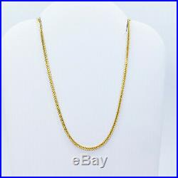 GENUINE 22K Solid Gold Chain Necklace Franco 20 Lobster Claw Clasp Hallmark 916