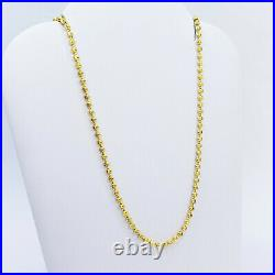 GENUINE 22K Yellow Gold Chain Necklace 16 Beaded Ball Moon Cut Hallmarked 916