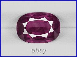 GIA Certified KASHMIR Ruby 2.50 Cts Natural Untreated Deep Purplish Red Cushion