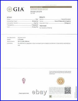 GIA Certified MADAGASCAR Padparadscha Sapphire 1.77 Cts Natural Untreated Pear