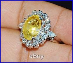 GIA Natural 11CTS VS F Diamond No Heat Vivid Yellow Sapphire 18K Solid Gold Ring