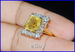 GIA Natural 14.3CTS VS F Diamond Unheated Yellow Sapphire 18K Solid Gold Ring