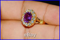 GIA Natural 4.9CTS VS F Diamond No Heat Ruby Ceylon Sapphire 18K Solid Gold Ring
