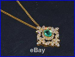 GIA Natural 5.21Cts VS F Diamond Colombian Emerald 18K Solid Gold Slide Pendant