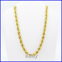 GOLDSHINE 22K Gold Rope Chain Necklace 20.25 Hallmarked 916 Lobster Clasp 4.4mm