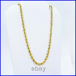 GOLDSHINE 22K Gold Rope Chain Necklace 22.25 Hallmarked 916 Lobster Clasp 3.8mm