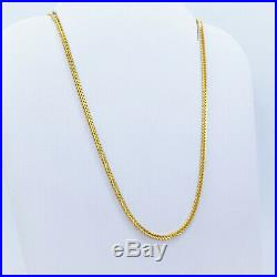 GOLDSHINE 22K Solid Gold Chain Necklace Franco 24 Lobster Clasp Hallmarked 916