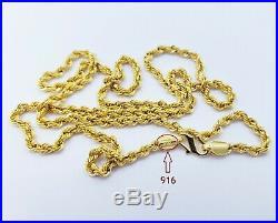 GOLDSHINE Chain Necklace Genuine 22K Solid Yellow Gold 18 Rope Hallmarked 6.38g