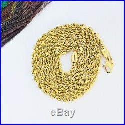 GOLDSHINE Chain Necklace Genuine 22K Solid Yellow Gold 23.5 Rope Hallmarked 916