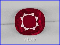 GRS Certified BURMA Ruby 1.37 Cts Natural Untreated Cushion
