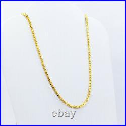 Genuine 22 Karat Yellow Gold Chain Necklace 20.25 Beaded 1.8mm Hallmarked 916