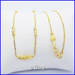 Genuine 22K Gold Box Beaded Chain Necklace 16 16.5 Choker Hallmarked 916