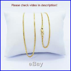 Genuine 22K Gold Chain Necklace Franco 20 Lobster Clasp Hallmarked 916 1.3mm