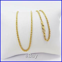 Genuine 22K Gold Rope Chain Necklace 20 Hallmark 916 1.75mm Light Weight 2.73gm