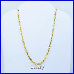 Genuine 22K Gold Rope Chain Necklace Choker 16 Hollow 1.75mm Thick Hallmark 916