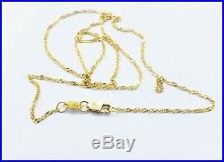 Genuine 22K Solid Gold Chain Necklace 16.5 Singapore Choker Thin 1.22mm, 1.75gm