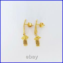 Genuine 22K Solid Gold Earrings Drop Dangle Hallmarked 22K Handcrafted GOLDSHINE