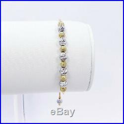 Genuine 22K Solid Yellow White Gold Female Bolo Bracelet 5 to 8.5 Hallmark 916