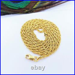 Genuine 22K Yellow Gold Rope Chain Necklace 20.25 Hollow 1.75mm Hallmarked 916