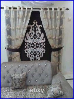 Geometric arabic Crush Velvet Greek Key Crystal Stones Blind And Curtains Set