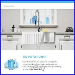 MR Direct 412 Fireclay Single Bowl Farmhouse Kitchen Sink