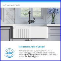 MR Direct 414 Fireclay Single Bowl Farmhouse Kitchen Sink