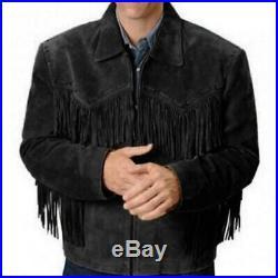 Men Black Suede Western Cowboy Leather Jacket With Fringe