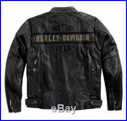 Men's Biker Distressed Black Harley Davidson Motorcycle Real Cow Leather Jacket