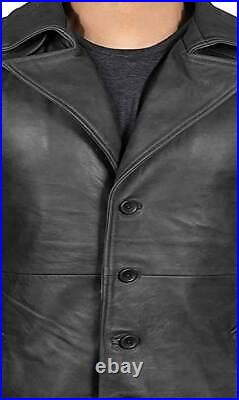 Men's Long Full Length Black Leather Button Front Trench Over coat Duster Jacket