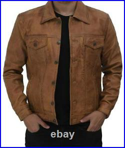 Mens Slim fit Brown Trucker Genuine Sheepskin Leather Jacket