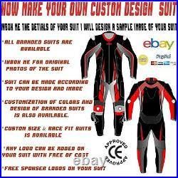 Motorcycle Suit Riding Motorbike Suit Leather Racing Street 1 & 2 Pc Custom Made