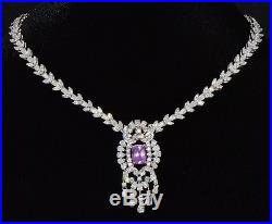 Natural 20CTS Diamond Sapphire 18K Solid Gold 7 IN 1 Necklace Bracelet Pendant