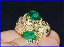 Natural 5.25CTS VS F Diamond Emerald 18K Solid Gold Bypass Dinner Cocktail Ring