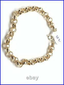 New Real 18K Saudi Gold Chain Links Bracelets Size 7