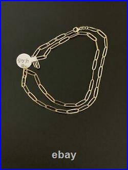 New Real 18K Saudi Gold Paperclips Chain Link Necklace 18