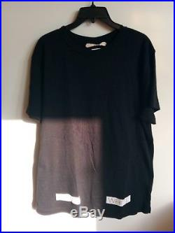 OFF WHITE by Virgil Abloh Black with Classic Stripe Graphics on Back Tee Rare