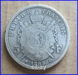 Qatar & Dubai France 5 Francs 1868 Countermark (QATAR Arabian Oryx) Silver Coin